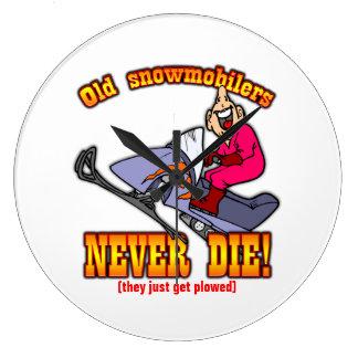 Snowmobilers Large Clock