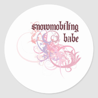 Snowmobiling Babe Classic Round Sticker