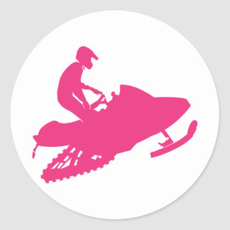 Snowmobiling/Hot Pink Sled Round Sticker