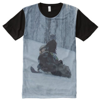 Snowmobiling in a Winter Forest - Snowmobiler