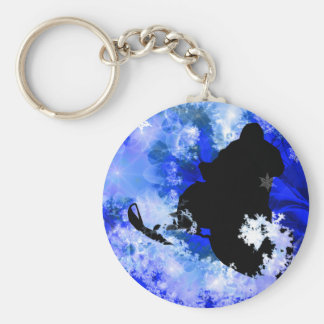 Snowmobiling in the Avalanche Basic Round Button Keychain
