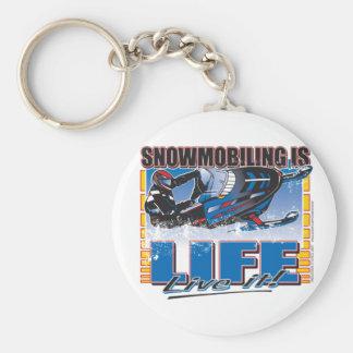 SNOWMOBILING-IS-LIFE-zazz Basic Round Button Keychain