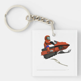 Snowmobiling Jump 2 Double-Sided Square Acrylic Keychain