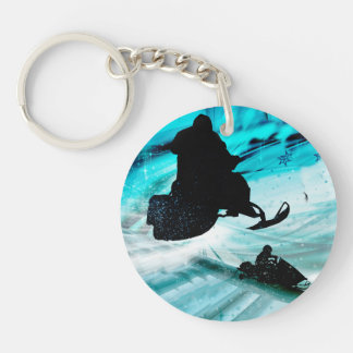 Snowmobiling on Icy Trails Single-Sided Round Acrylic Keychain