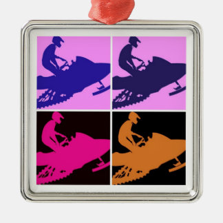 Snowmobiling Pop Art Metal Ornament
