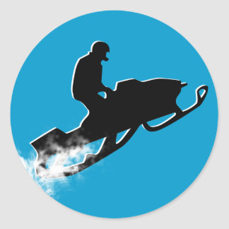 snowmobiling powder trail. classic round sticker