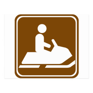 Snowmobiling Trail Highway Sign Postcard