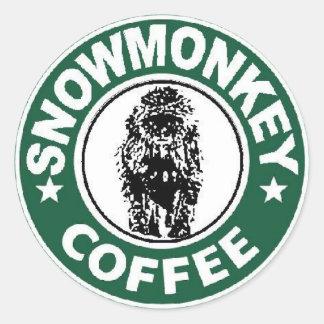 snowmonkey coffee logo classic round sticker