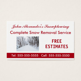 Snowplowing, Snow Removal, and Service Business Business Card