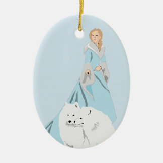snowqueen ceramic ornament
