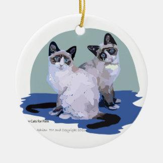 Snowshoe Cats Are We Round Ceramic Ornament