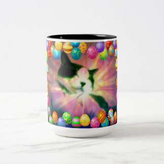 Snowshoe Happy Easter Kitty Two-Tone Coffee Mug