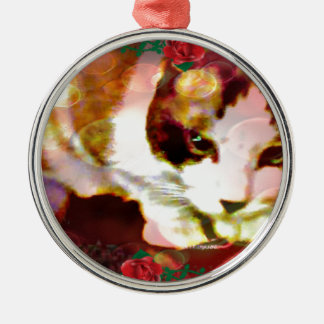 snowshoe kitty in the red roses metal ornament