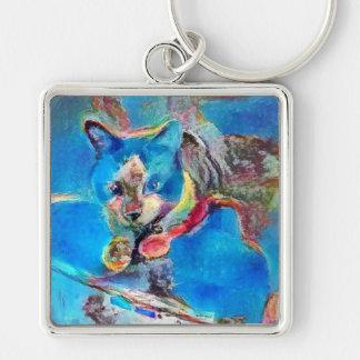snowshoe painted rainbow kitty keychain