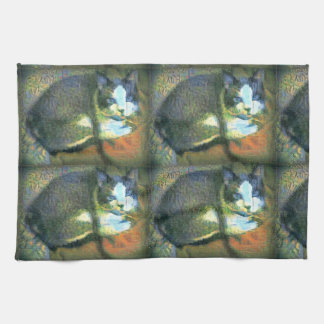 snowshoe stunning kitty kitchen towel