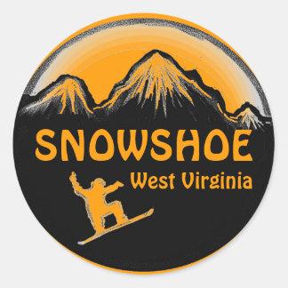 Snowshoe West Virginia orange snowboard stickers