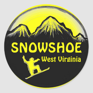 Snowshoe West Virginia yellow snowboard stickers