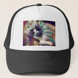 snowshoe winter sketch kitty trucker hat