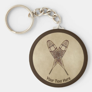 Snowshoes On Old Paper Keychain