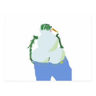 snowwoman w butt in jeans postcard