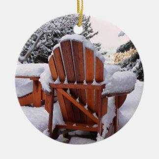 Snowy Adirondack Chairs in Winter Photo Ceramic Ornament