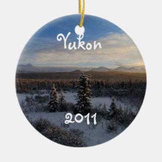 Snowy Afternoon; Yukon Territory Souvenir Ceramic Ornament