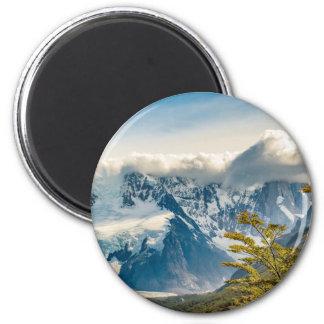 Snowy Andes Mountains, El Chalten Argentina 2 Inch Round Magnet