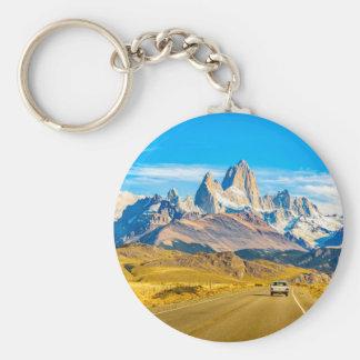 Snowy Andes Mountains, El Chalten, Argentina Basic Round Button Keychain