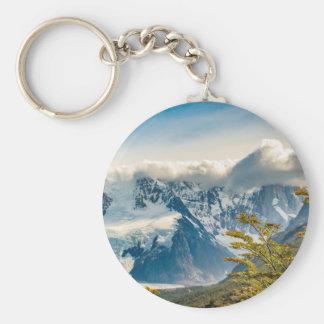 Snowy Andes Mountains, El Chalten Argentina Basic Round Button Keychain
