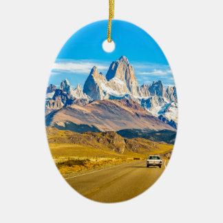Snowy Andes Mountains, El Chalten, Argentina Ceramic Ornament