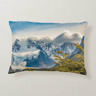 Snowy Andes Mountains, El Chalten Argentina Decorative Pillow