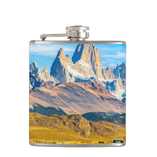 Snowy Andes Mountains, El Chalten, Argentina Hip Flask