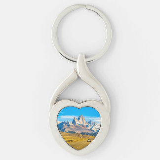 Snowy Andes Mountains, El Chalten, Argentina Silver-Colored Twisted Heart Keychain