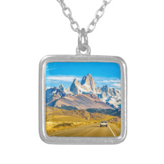 Snowy Andes Mountains, El Chalten, Argentina Silver Plated Necklace