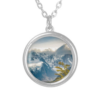 Snowy Andes Mountains, El Chalten Argentina Silver Plated Necklace