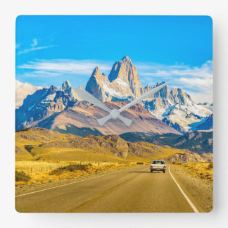 Snowy Andes Mountains, El Chalten, Argentina Square Wall Clock