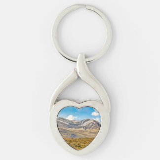 Snowy Andes Mountains Patagonia Argentina Silver-Colored Twisted Heart Keychain