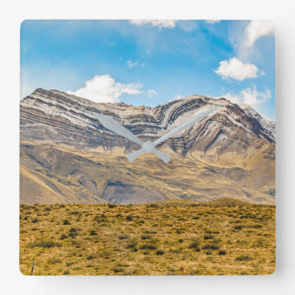 Snowy Andes Mountains Patagonia Argentina Square Wall Clock