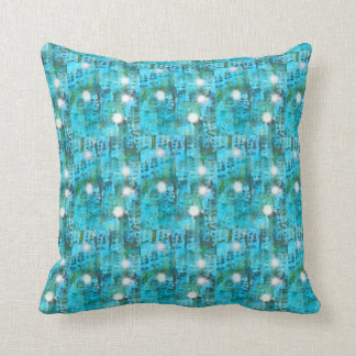 Snowy aqua throw pillow