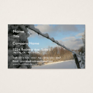 Snowy Barbwire Fence Business Card
