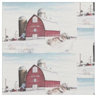 Snowy Barn Fabric