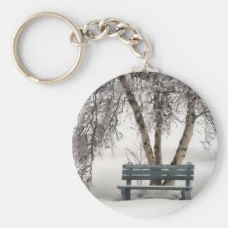 Snowy Bench Keychain