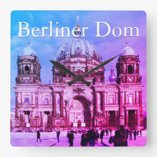 Snowy Berlin Cathedral 001.02.T.F.3 (Berliner Dom) Square Wall Clock
