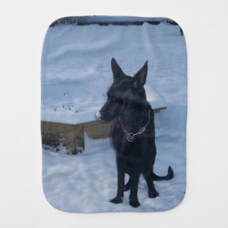 Snowy Black German Shepherd Burp Cloth