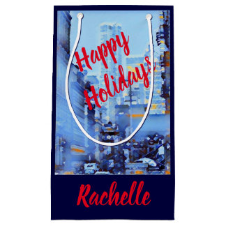 Snowy Blue City Small Customizable Gift Bag