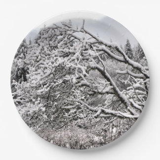 """Snowy branches 9"""" Paper Plate"""