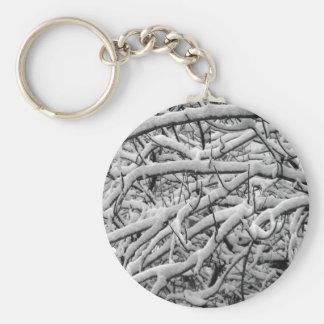 Snowy branches basic round button keychain