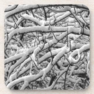 Snowy branches beverage coaster