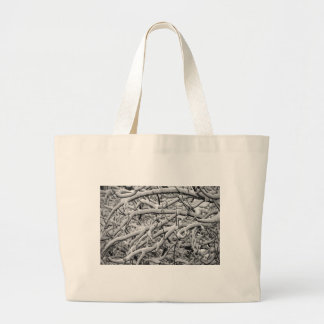 Snowy branches large tote bag