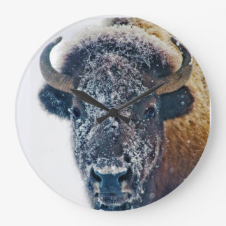 Snowy Buffalo Wall Clock